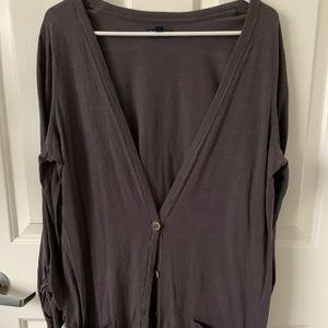 American Eagle Long, dark gray cardigan! Size XL
